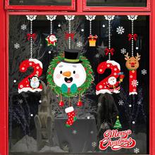 Joy-Enlife Merry Christmas Wall Stickers Santa Claus Deer Snowflake stickers 2020 New Year Decor Stickers Ornaments Navidad tanie tanio CN(Origin) No Gift Box Christmas stickers Home decoration Christmas decoration