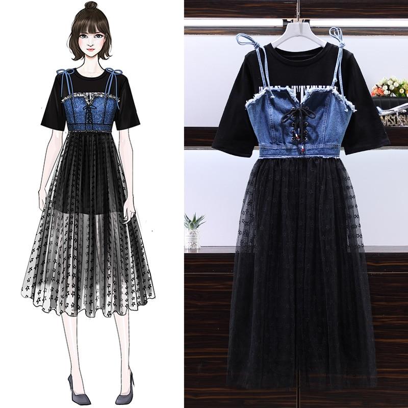 2019 Summer Large Size Dress Fat Mm Lettered T-shirt Mid-length Plus Gauze Joint Denim Braces Skirt Two-Piece Set
