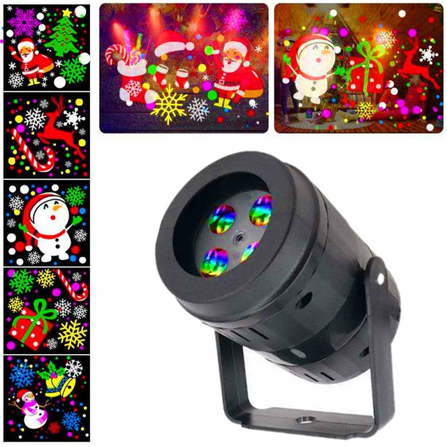 20 Patterns New Year Christmas Decoration LED Laser Projector Light Snowflake Elk Projection Lamp Stage Indoor Lighting Decor
