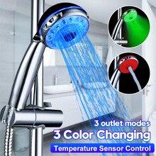 Einstellbare 3 Modus 3 Farbe LED Dusche Kopf Licht Temperatur Sensor RGB Bad Sprinkler Badezimmer Dusche Kopf