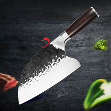 Chef's-Knife Meat-Cleaver Hand-Forged Wooden-Handle Steel-Head Stainless-Steel Hammered