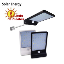 Newest 450LM 48 LED Solar Power Street Light PIR Motion Sensor Lamps Garden Security Lamp Outdoor Street Waterproof Wall Lights 450lm 36 led solar powered street light pir motion sensor light garden security lamp outdoor street waterproof wall lights