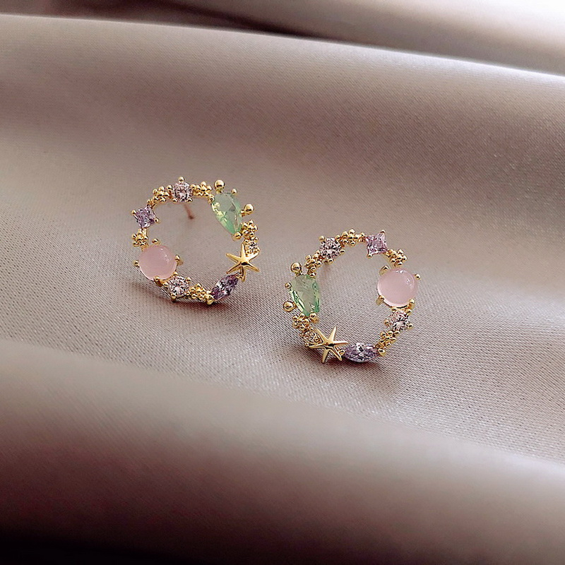 2020 New Arrival Classic Round Pink Green Crystal Stud Earrings Sweet Flower Cirlce Jewelry Fashion Brincos Gift for women