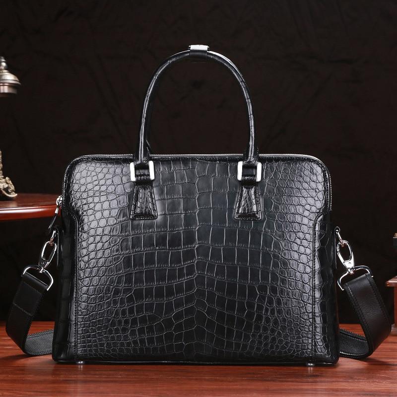 Fancy Genuine Crocodile Belly Skin Zipper Closure Businessmen Briefcase Purse Real Alligator Leather Male Handbag