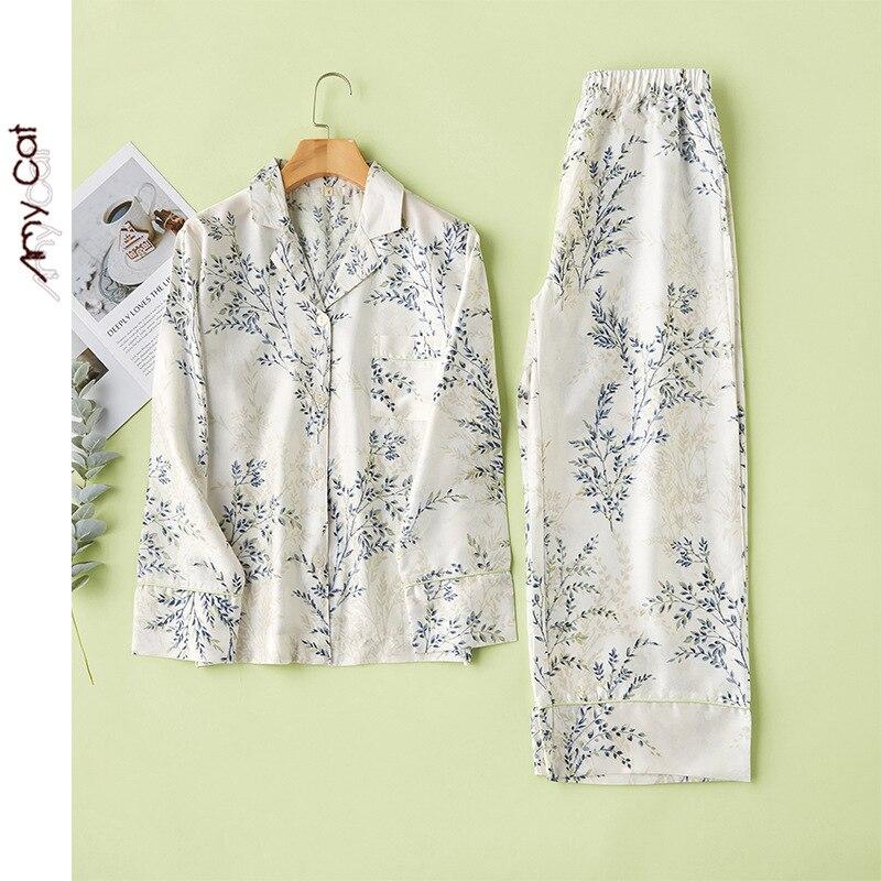 2020 Spring Lysell Simple Fresh Wicker Printing Pajama Set Women Long Sleeve Tencel Pajamas Loungewear Satin Sleepwear 2 Piece
