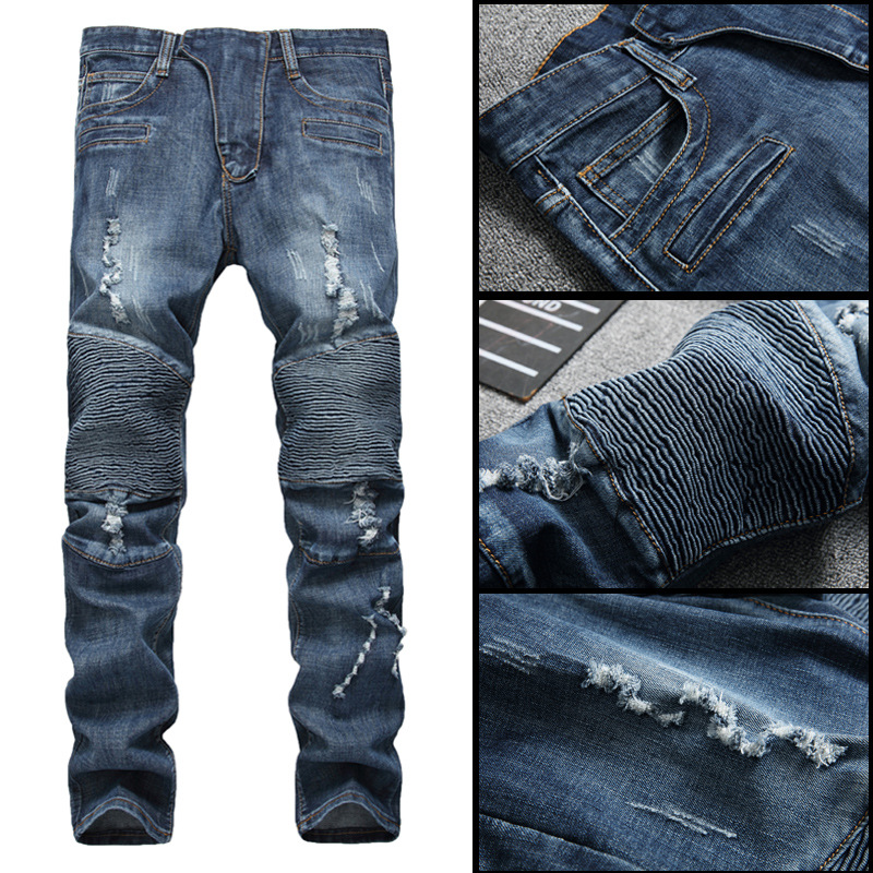 Europe And America American JEANS Locomotive Pleated With Holes Jeans Men Elasticity Straight-Cut Slim-Fit Pants