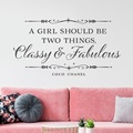 A girl should be two things, elegant and wonderful vinyl wall decal quote wall girl's room home bedroom decoration 2SJ32