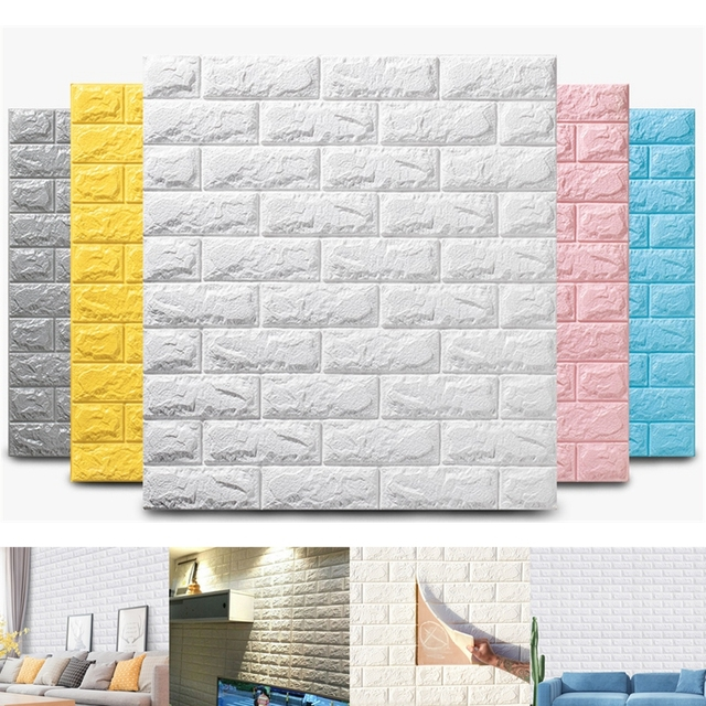 10pcs 3D Wall Stickers Imitation Brick Bedroom Decoration Waterproof Thickening Self-adhesive Wallpaper Renovation Decoration 2