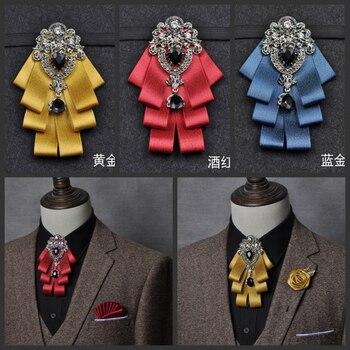 Luxury Black Rhinestone Handmade Bow Tie Mens Wedding Groomsman High-end British Boy Business Suit Shirt Bowtie Set