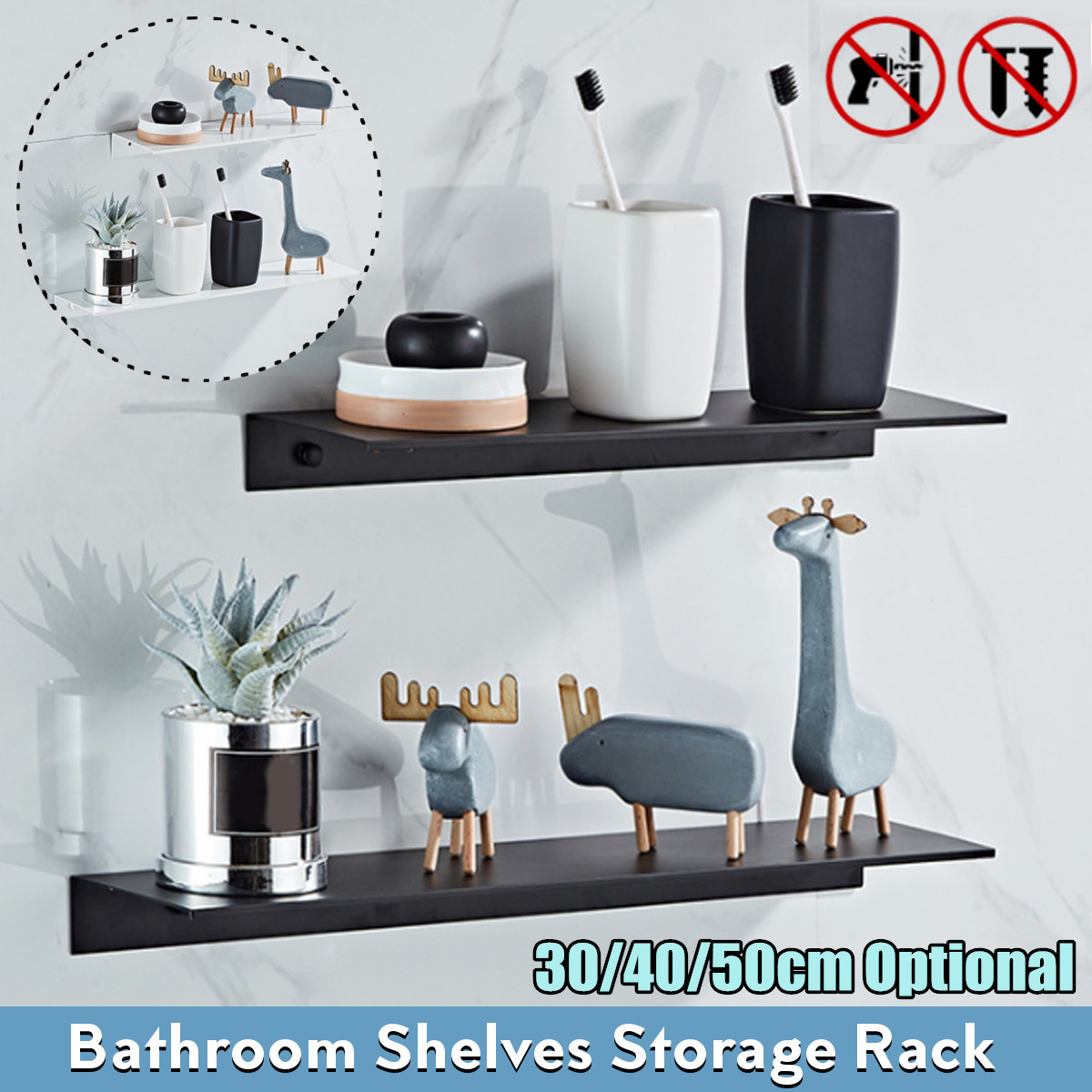 Space Aluminum Black Bathroom Shelves Kitchen Wall Shelf Shampoo Cups Shower Gel Storage Holder Bathroom Accessories image