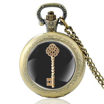 Classic Bronze Steampunk Key Quartz Glass Dome Punk Pocket Watch Charm Men Necklace Pendant Chain Jewelry Gift classic antique black steampunk gear glass dome punk style quartz pocket watch charm men necklace pendant jewelry birthday gifts