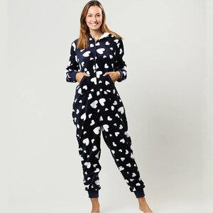 Image 2 - Mùa đông Nữ Pyjama Bộ Ấm Dép Nỉ Có Mũ Trùm Đầu Có Túi Onesie Lông Tơ Đồ Ngủ Nữ 1 Nhảy Phù Hợp Với Bộ Pyjama Homewear