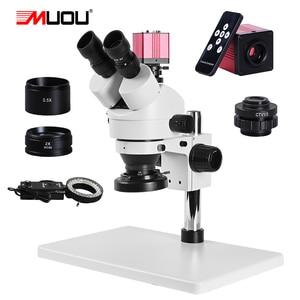 Zoom 3.5 90x HD cyfrowy trinokularnej mikroskop stereo + duży stół warsztatowy + 2K aparat VGA HDMI + lampa pierścieniowa led + 1/3 adapter solderi