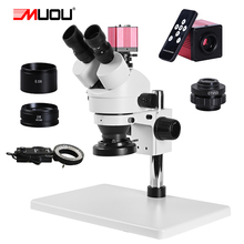 zoom 3.5 90x HD digital Trinocular Stereo Microscope + Large workbench+ 2K camera VGA HDMI + LED Ring Light +1/3 adapter solderi