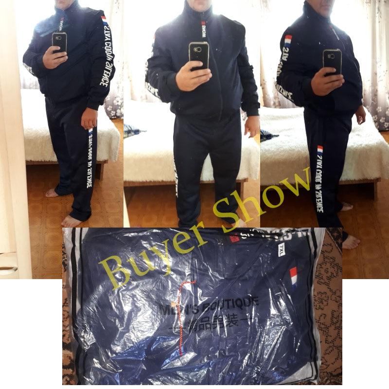 2021 Men Running Sets Autumn Sportswear 140KG Sport Suit Sweatshirt Sweatpants Mens Clothing 2 Pieces Sets  Jogging Tracksuit 4
