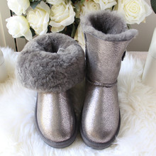 Winter Boots Shoes Genuine Sheepskin Fashion Woman Fur Wool Top-Quality Warm 100%Natural