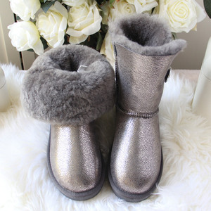 Image 1 - 2020 Fashion Top Quality Woman Snow Boots Genuine Sheepskin Leather Women Boots 100% Natural Fur  Warm Wool Winter Boots Shoes