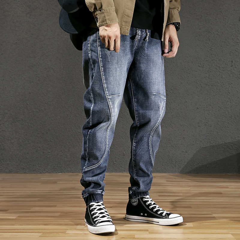 Herfst Winter Mode Mannen Jeans Loose Fit Retro Blauw Spliced Designer Harem Jeans Warme Broek Streetwear Hip Hop Fluwelen Jeans mannen