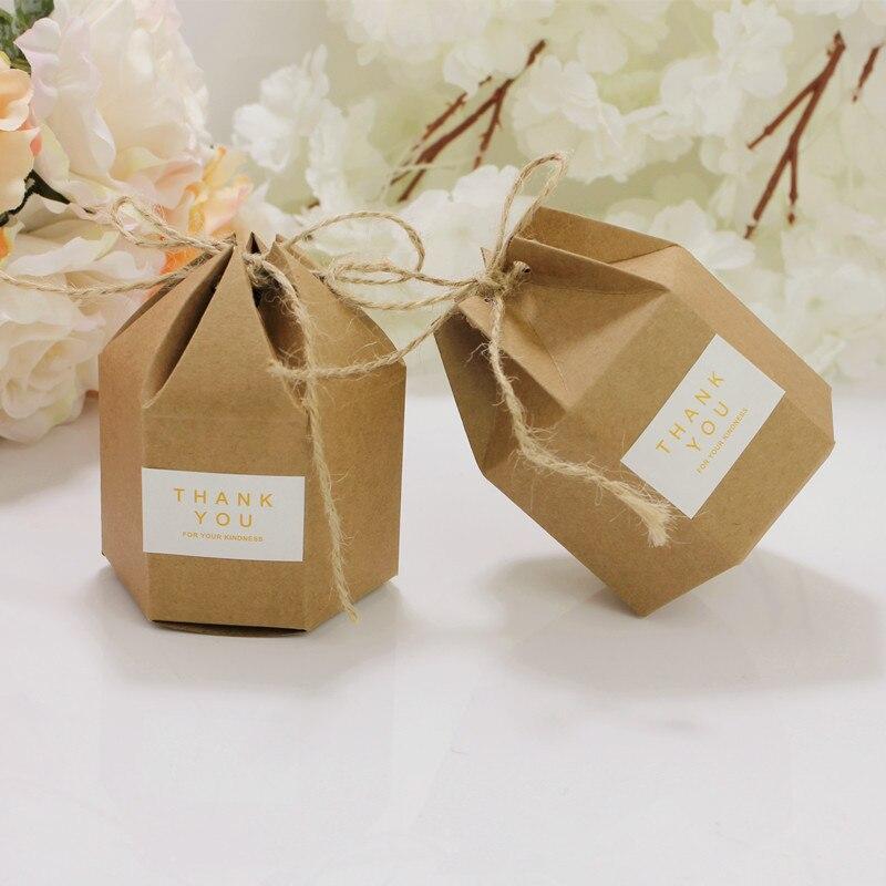 50pcs anniversaire Boutique faveur petit cadeau emballage boîte de mariage bonbons chocolat artisanat emballage hexagone Kraft boîte de papier
