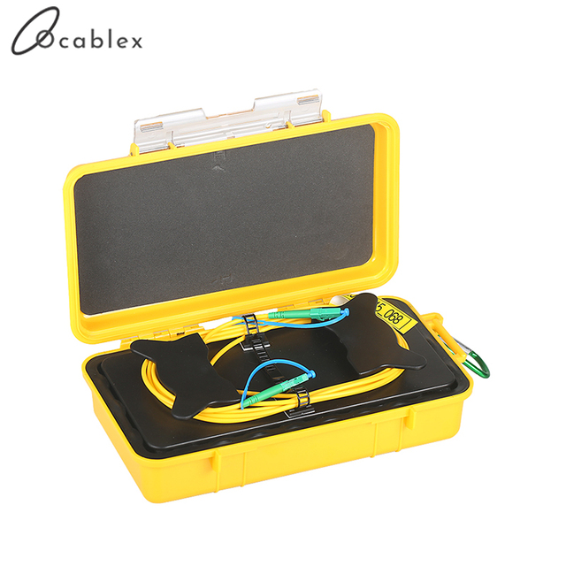 Caja de Cable de lanzamiento OTDR de fibra óptica, 1km, Cable SM, modelo único FC/UPC FC/UPC OTDR, anillos de fibra eliminadora de zona muerta