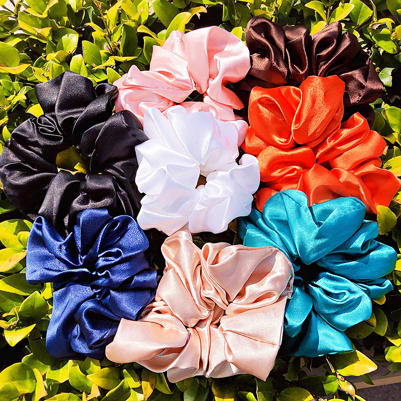 New Women Elegant 5.12inch Colorful Satin Soft Elastic Hair Bands Sweet Scrunchie Rubber Bands Headband Fashion Hair Accessories