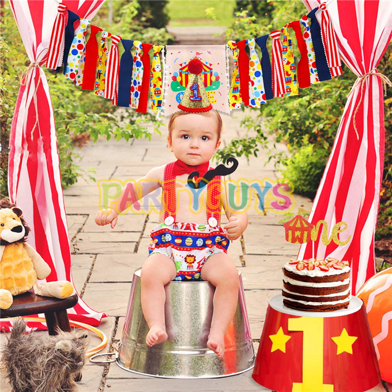 Circus Carnival Theme 1st Birthday Decorations Kit ONE High Chair Banner Glitter Red Felt 1st Birthday Cake Topper Party Hat