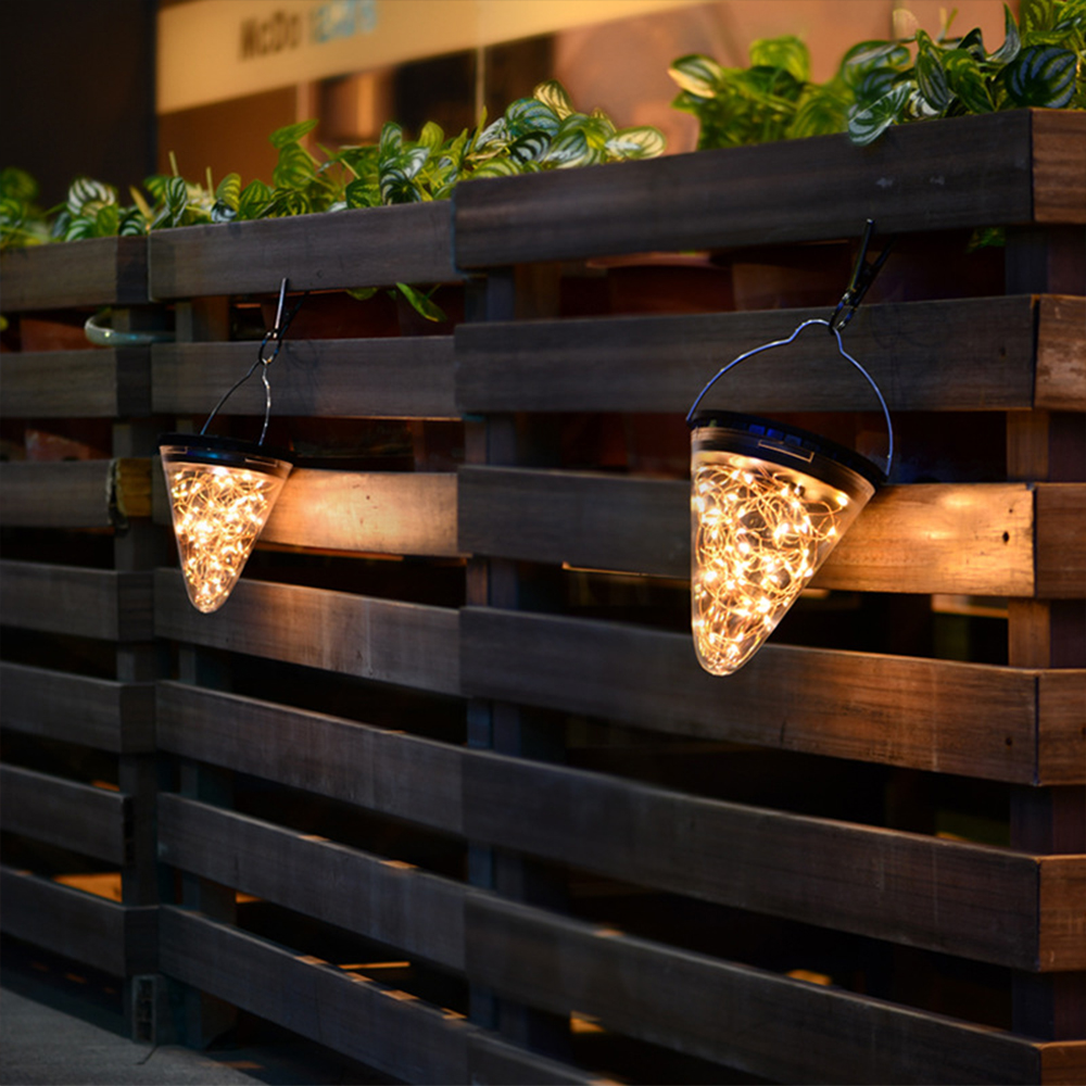 Solar LED Lights Cone Shape Hanging Lamp Outdoor Waterproof Yard Chandelier Light Christmas Decoration for home New Year Product