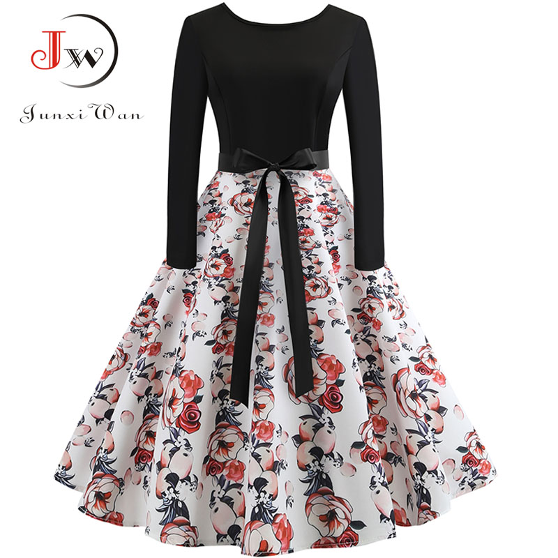New Women Long Sleeve Midi Dress Casual Slim Plus Size Floral Print Autumn Dresses Dot Vintage Rockabilly Pin up Vestidos