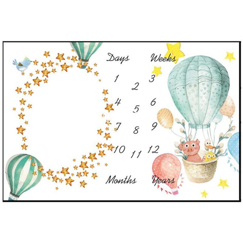 Baby Milestone Photography Blanket Hot Air Balloon Pattern Flannel Blankets