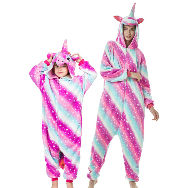 Kigurumi Adult Kids Unicorn Pajamas Animal  Stitch Mother and Daughter Family Matching Clothes Winter Flannel Women Kids Pyjamas