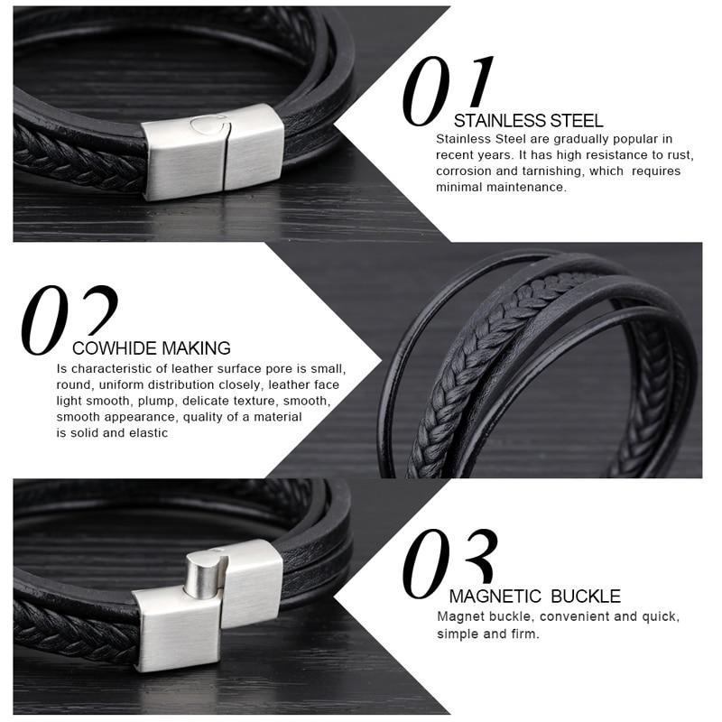 MingAo-Bracelets Chakra en acier inoxydable pour hommes, breloque Punk de Tennis, noir, bijoux de noël, Bracelets pour femme 5
