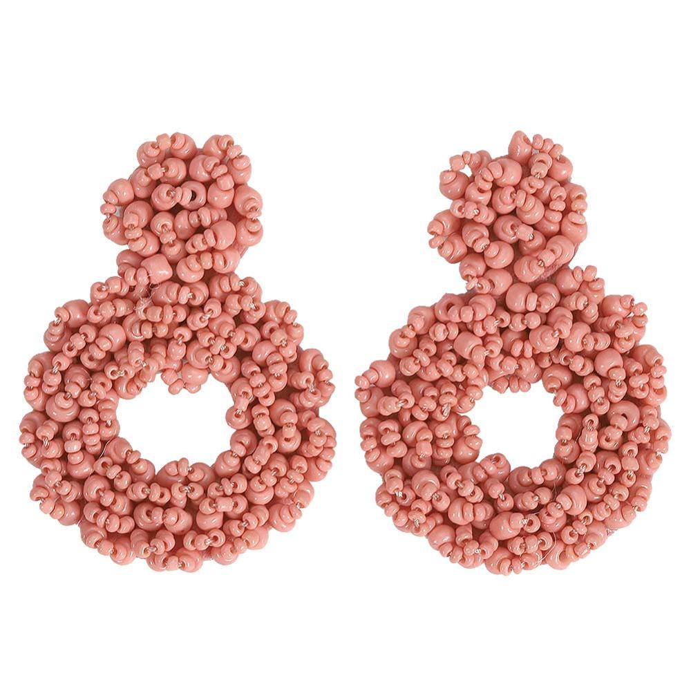 BA Pink Style Resin Beads Earrings for Women 2019 Bohemian Luxury Jewelry Statement Earring Accessories Gifts Wedding Wholesale in Drop Earrings from Jewelry Accessories