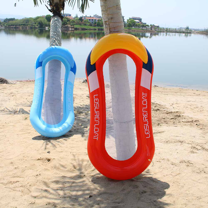 PVC Summer Floating Row Hammock Bed Middle Mesh Portable Folding Inflatable Swimming Mattress With 2pcs Soft Silicone Ear Plugs