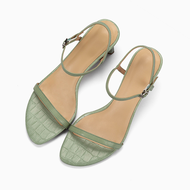 Donna in Natural Leather Women High heeled Sandals Sexy Narrow Band Peep Toe Summer Footwear Ladies