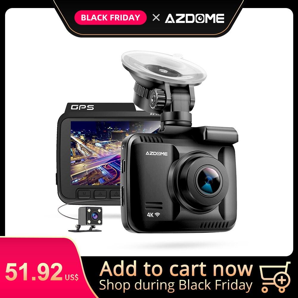 AZDOME видеорегистратор GS63H регистратор 4K Встроенный Gps скорость координаты WiFi DVR двойной объектив Автомобильная камера ночного видения камер...