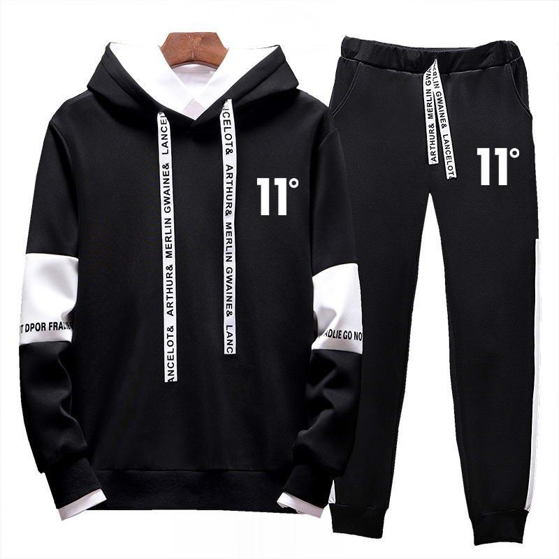2019 Hot New Style Fashion Brand Men's Casual 11 Degree Printing Hoodie Men's 2 Piece Sportswear Suit Men's Clothing