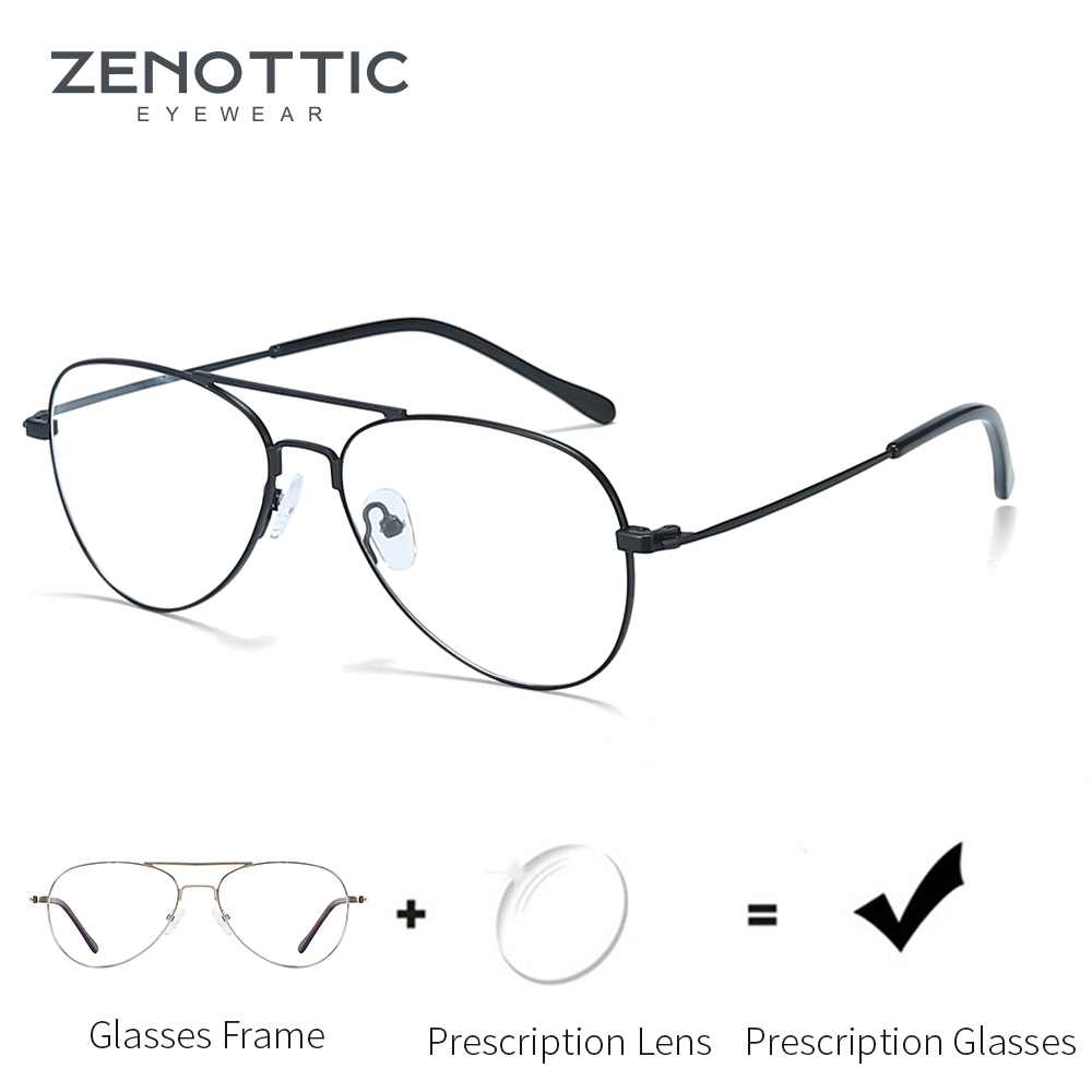 ZENOTTIC Light Prescription Glasses Men Optical Myopia Eyeglasses Metal Fashion Design Pilot Spectacles Man Eyewear 2019 BT2112