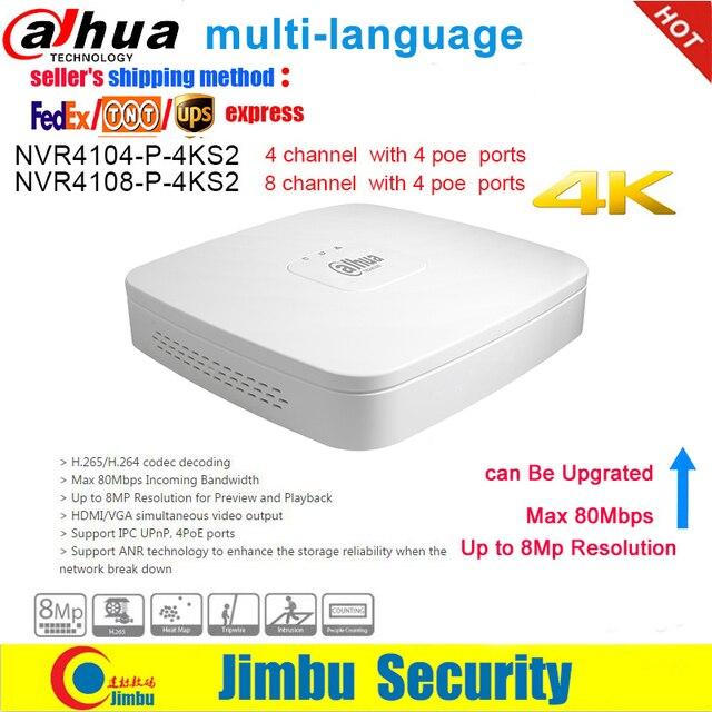 Dahua NVR NVR4104 P 4KS2 NVR4108 P 4KS2 4 Ports PoE Enregistreur Vidéo 4Ch/8CH Smart Mini 1U jusquà 8MP Résolution Max 80Mbps H.265