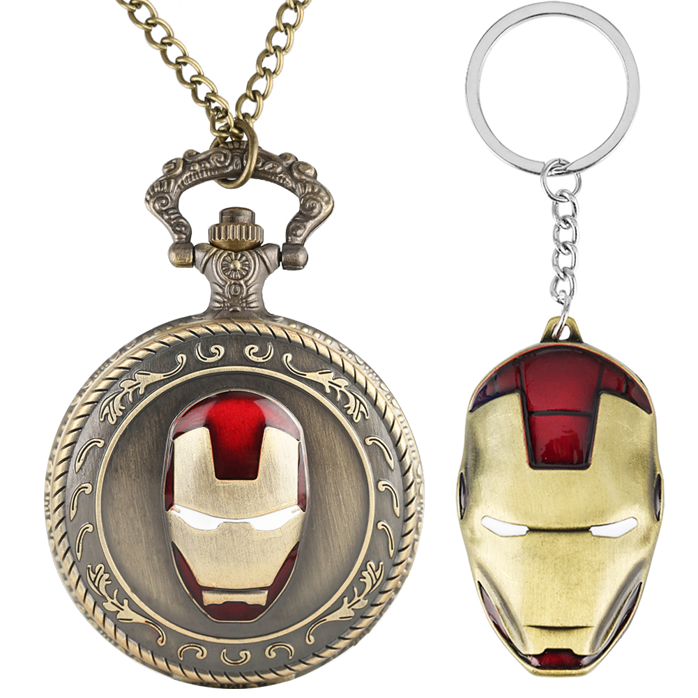 Pocket Watch Key Ring Gift Set Superhero Theme Watch Ironman Captain America Spideman Avengers Shield Kid Fans Christmas Gifts
