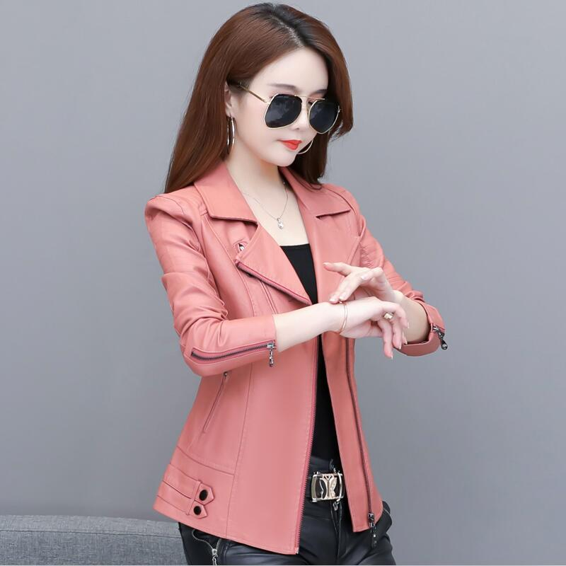 Plus Size Women's   Leather   Jacket 2019 New Spring And Autumn Female   Leather   Clothing Short Slim Motorcycle   Leather   Coat Women Red