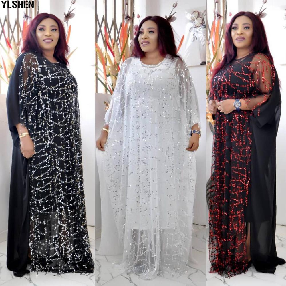 African Dresses For Women Autumn Long Sleeve African Clothes Fashion Sequins Robe Africaine Loose Long Dashiki Traditional Dress