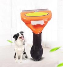 Pente de aço inoxidável do cão do animal de estimação para a remoção do cabelo da limpeza da pele escova gato grooming pentes ferramenta punho macio animais de estimação fornecedor acessórios