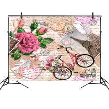 Vintage rosas Retro vieja bicicleta Romántica Francesa Eiffel telón de fondo con torre fotografía estudio Props San Valentín foto telones de fondo