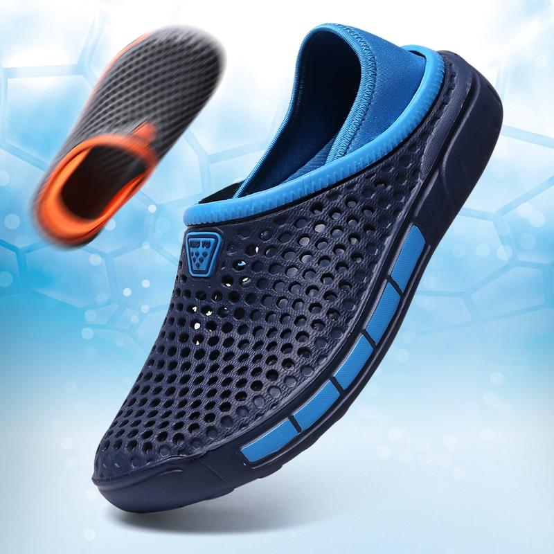 Мужские открытые пляжные туфли, дышащие легкие сандалии на плоской подошве, без застежки, для отдыха на открытом воздухе, летняя обувь