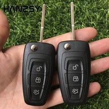 Carcasa de llave remota de 3 botones para Ford Focus 3 Fiesta, cubierta inteligente para llave de coche, plegable, abatible