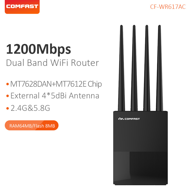 Comfast 1200Mbps Home WiFi Repeater 2.4G&5G Gigabit Dual-Band Wifi Range Extender4*5dbi Antenna Wireless Router CF-WR617AC