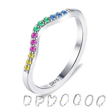 ZEMIOR Authentic 925 Sterling Silver Water Drop Finger Rings Women Colorful Clear Cubic Zirconia Anniversary Ring Fine Jewelry