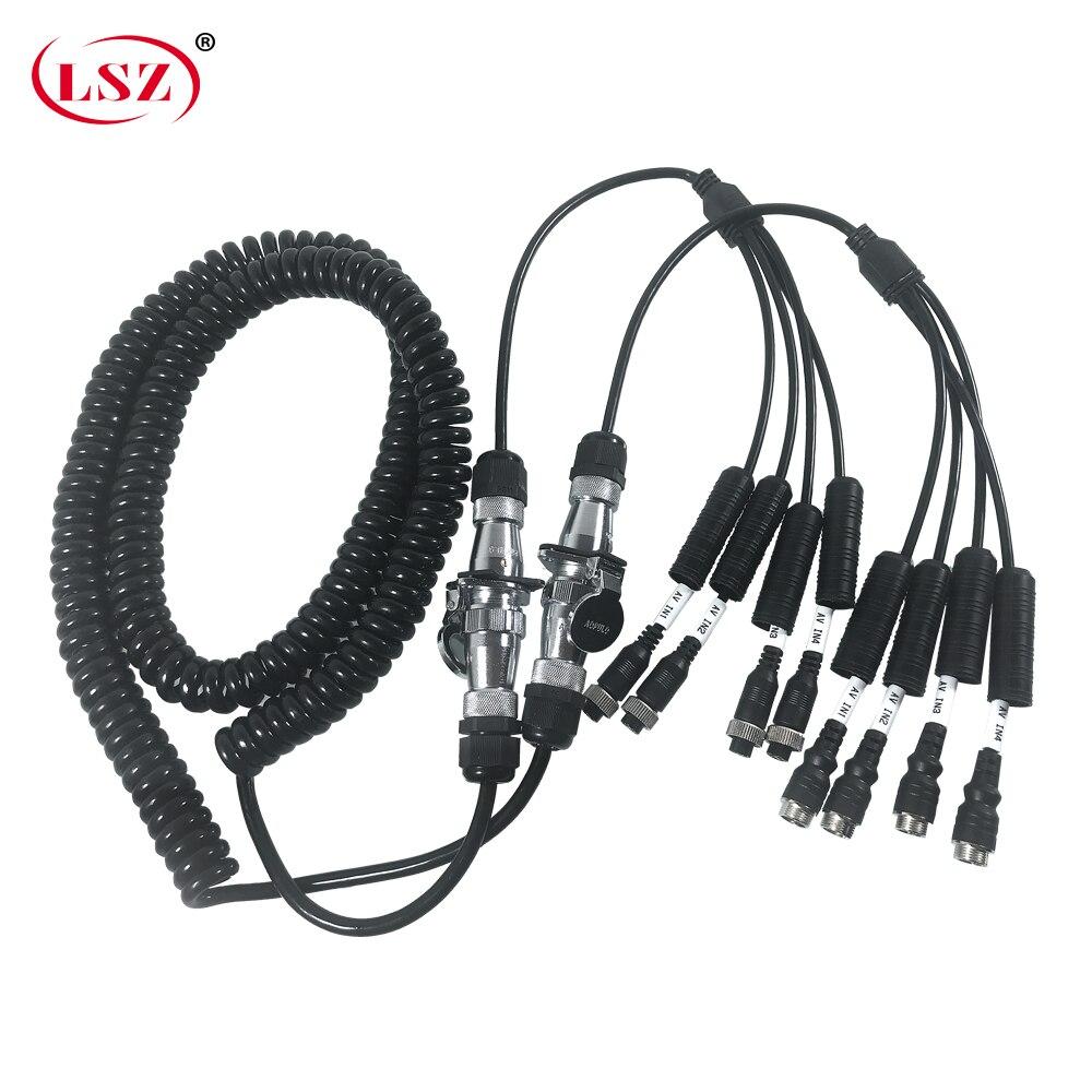 LSZ 7 ядер 5 м пружинный спиральный кабель для грузовика/корабля hd видео наблюдение Мобильный цифровой видеорегистратор GPS позиционирование и...
