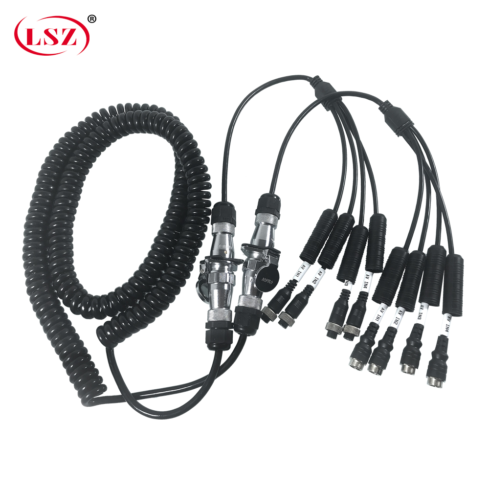 LSZ 7 Cores 5m Spring Spiral Cable Coiled Cable For Truck/ship Hd Video Surveillance Gps Mobile Dvr Positioning Shield Wire