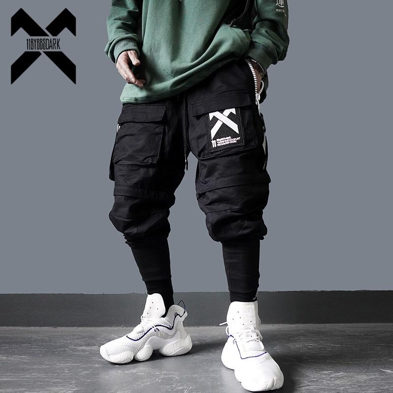 11 BYBB'S DARK Cargo Pants Men Hip Hop Tactics Joggers Trousers Elastic Waist Harajuku Streetwear Camouflage Pant Male DG74